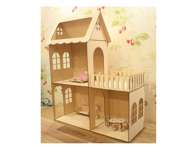 Houten Balkon Meubels : Houten poppenhuis met meubels en balkon barbie doll house etsy