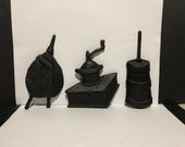 Set of 3 Kitchen wall plaque cast iron Bellows Coffee Grinder and Churn marked Taiwan