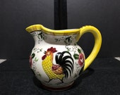 Hand Painted Rooster and Roses Small Pitcher (or large creamer) marked Early Provincial Japan (crazing)