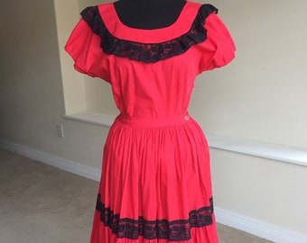 b7705f3cf2e58 2 Piece Square Dance Red Spanish Skirt Top 1960