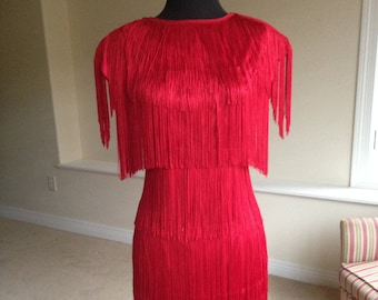 Red Flapper Fringe Dress 1970 1980