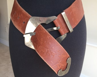 f3baa5daa119 Carlos Falchi Leather Belt Huge Silver Buckle