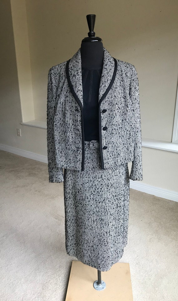 Vintage Black White Wool Tweed Dress Matching Jack