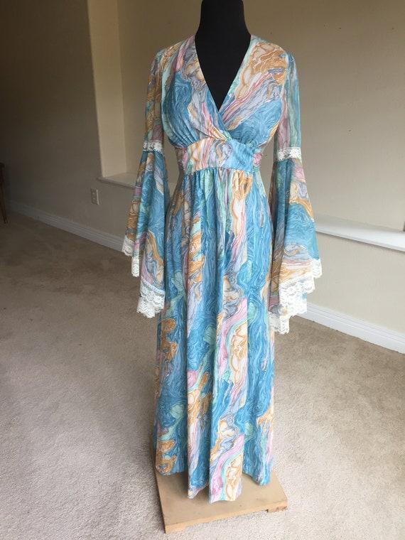 0b503bd1 Hippy Boho Abstract Swirl Print Huge Flare Sleeve Maxi Dress | Etsy