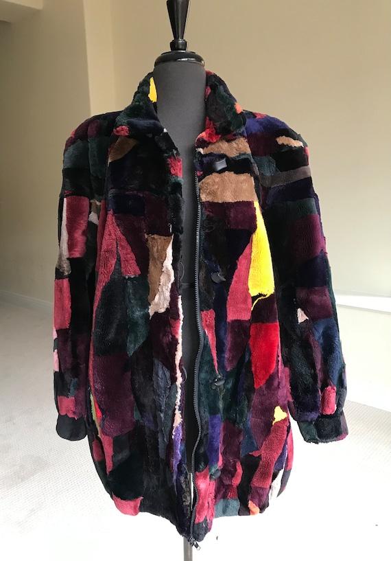 Vintage Multi Color Patchwork Sheared Beaver Fur … - image 7
