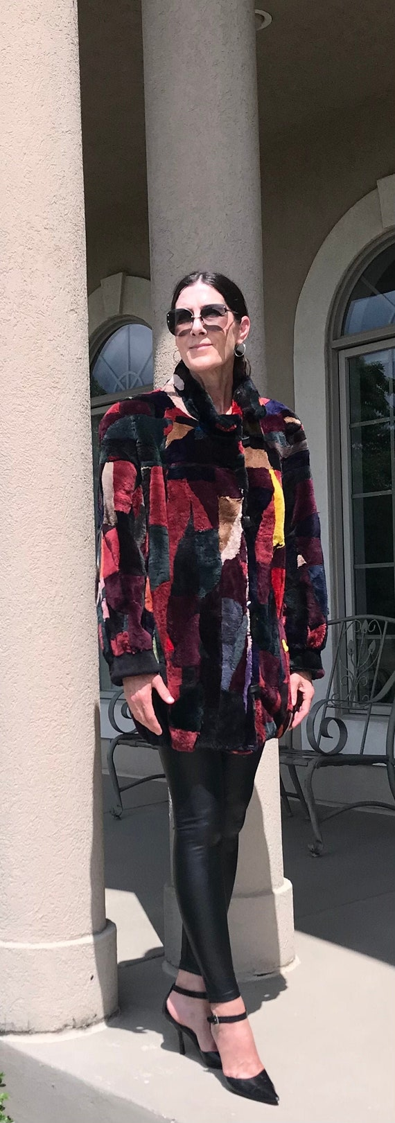 Vintage Multi Color Patchwork Sheared Beaver Fur … - image 6