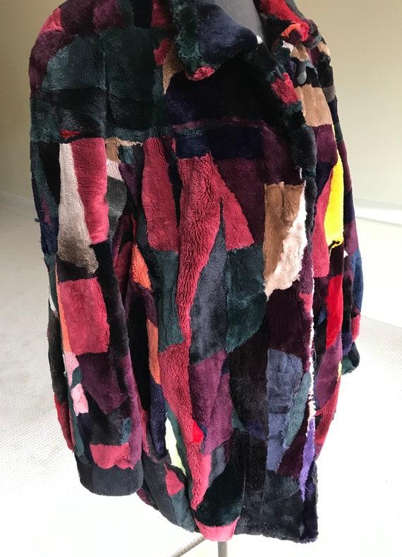 Vintage Multi Color Patchwork Sheared Beaver Fur … - image 9