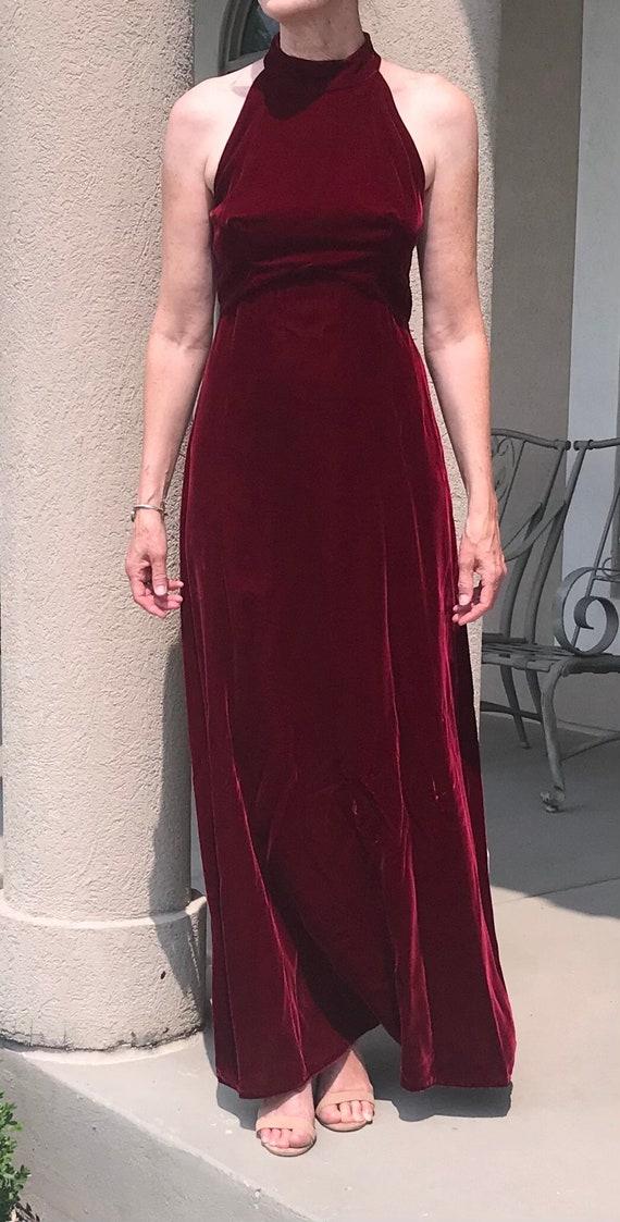 Vintage Long Burgundy Velvet Halter Dress