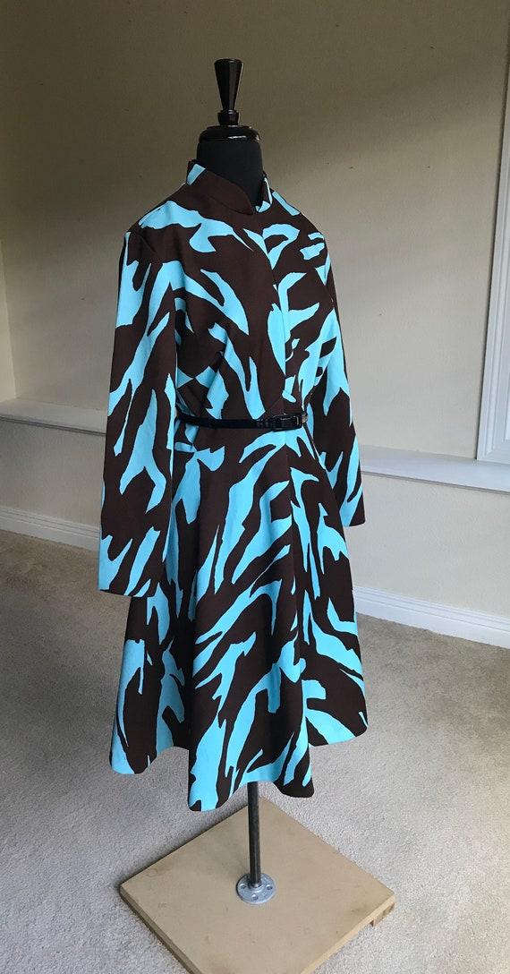 Vintage Modern Animal Print Zebra Print Dress 1970 - image 3