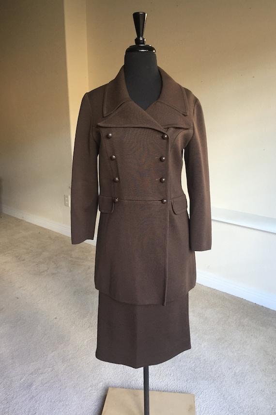 Vintage Italian Brown Virgin Wool Knit 2 Piece Sui
