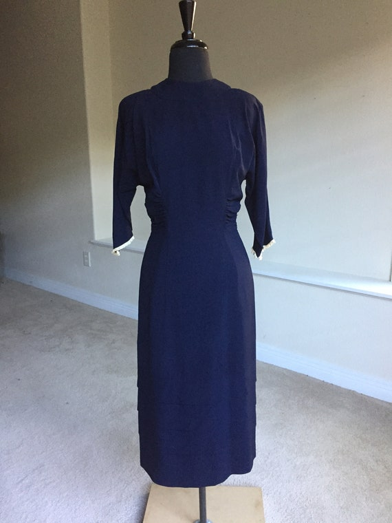Vintage Blue Crepe Fitted Ruched Dress 1940
