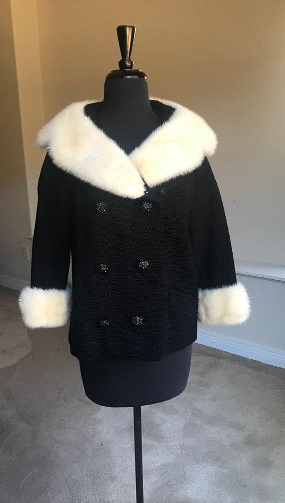 Vintage Modern Black Persian Lambs Wool Fur Jacket