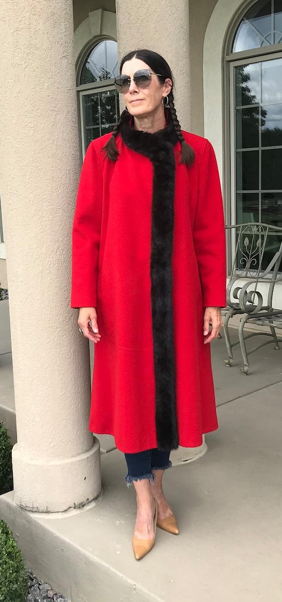 Vintage Modern Red Wool Long Coat Mink Fur Trim