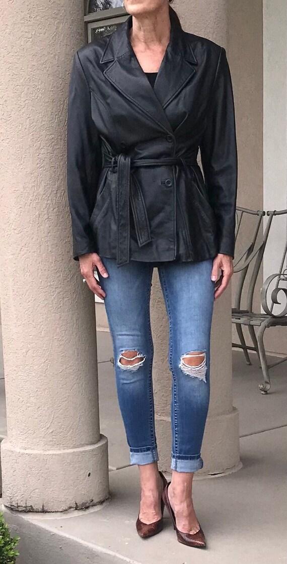 Vintage Black Leather Belted Jacket Blazer Modern
