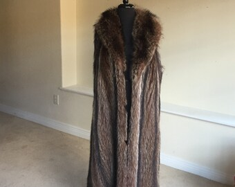 Vintage Long Raccoon Fur Vest Coat 1960