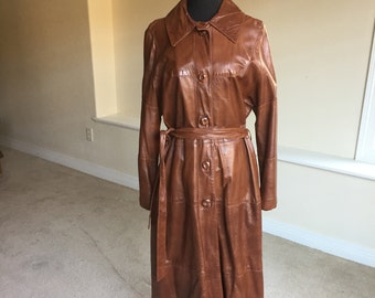 Vintage Brown Lamb Leather Trench Coat 1970