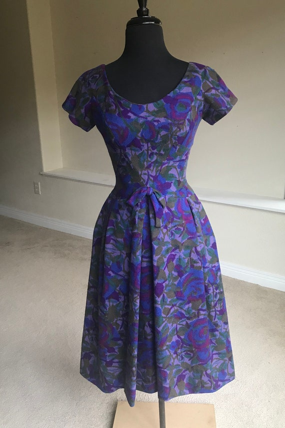 Vintage Worsted Wool Floral Tea Dress 1950