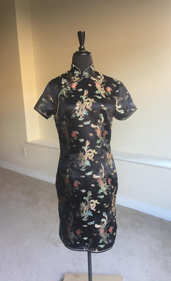 Vintage Black Oriental Asian Cheongsam Short Dress