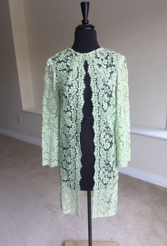 Vintage Pale Green Sheer Lace Ribbon Shrug Coat Du