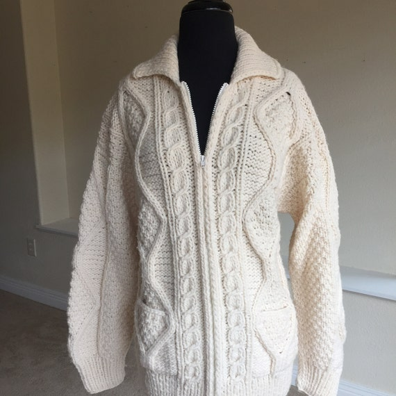 Vintage Ivory Hand Knit Hand Spun Wool Cable Knit