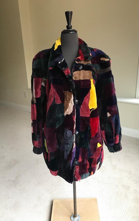 Vintage Multi Color Patchwork Sheared Beaver Fur … - image 1