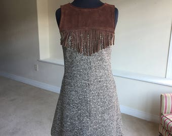 Vintage Wool Suede Fringe Dress 1970