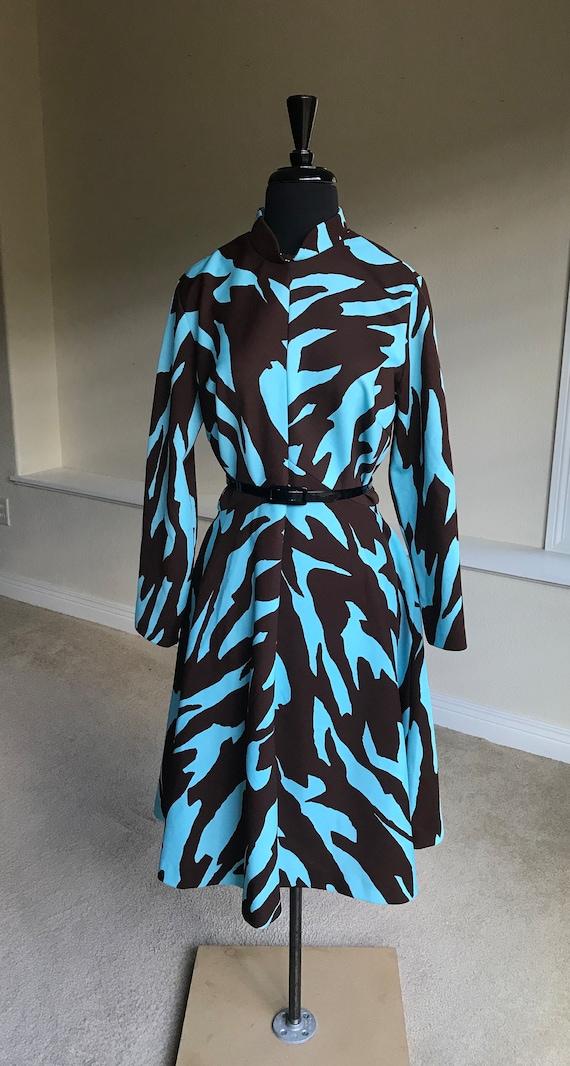 Vintage Modern Animal Print Zebra Print Dress 1970 - image 1