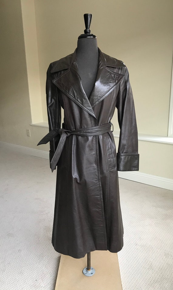 Vintage Modern Brown Leather Trench Coat Belted