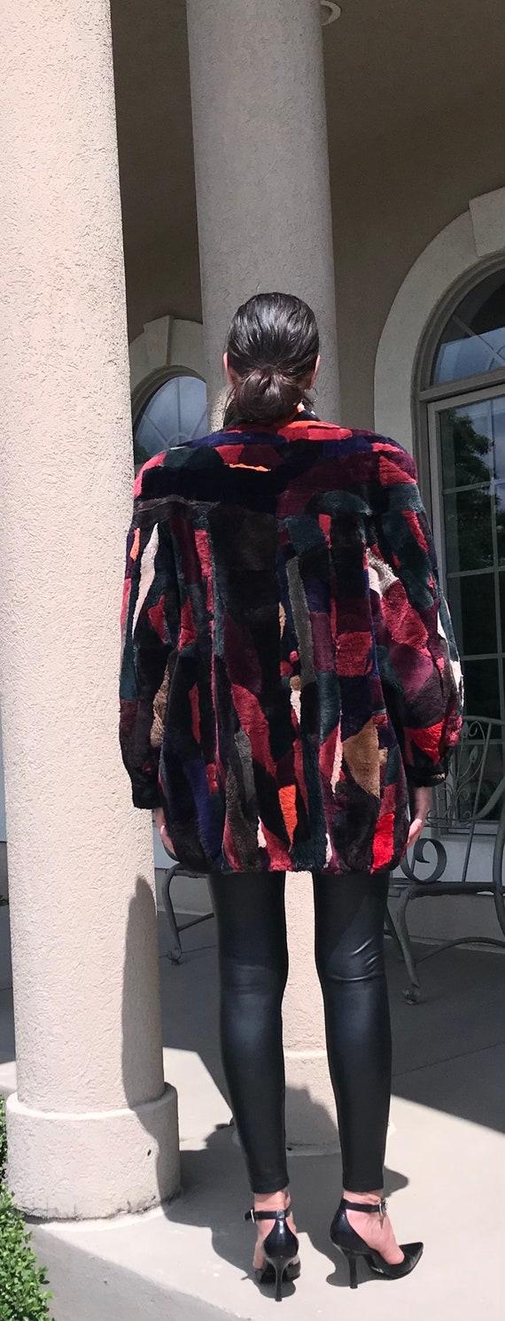 Vintage Multi Color Patchwork Sheared Beaver Fur … - image 4