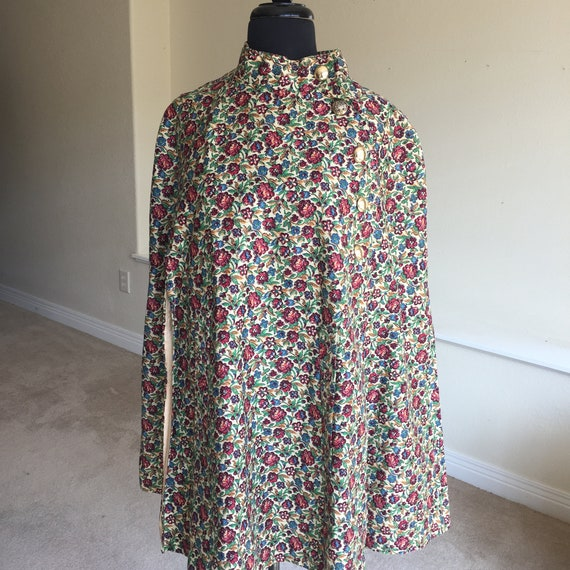 Tapestry Floral Print Cape 1960