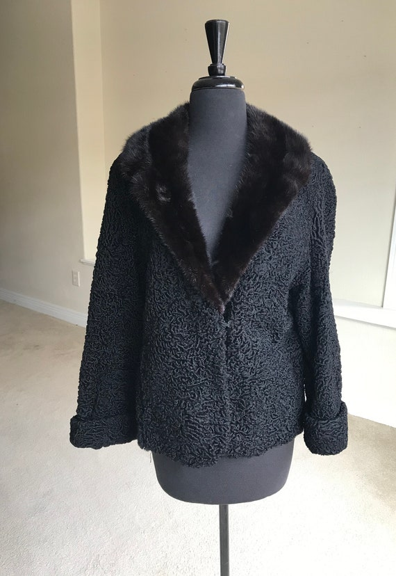 Vintage Black Persian Lambs Wool Fur Coat Jacket M