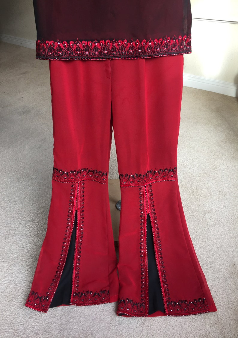 Vintage Red Black Tunic Top Bell Bottoms Set Kaftan 1970