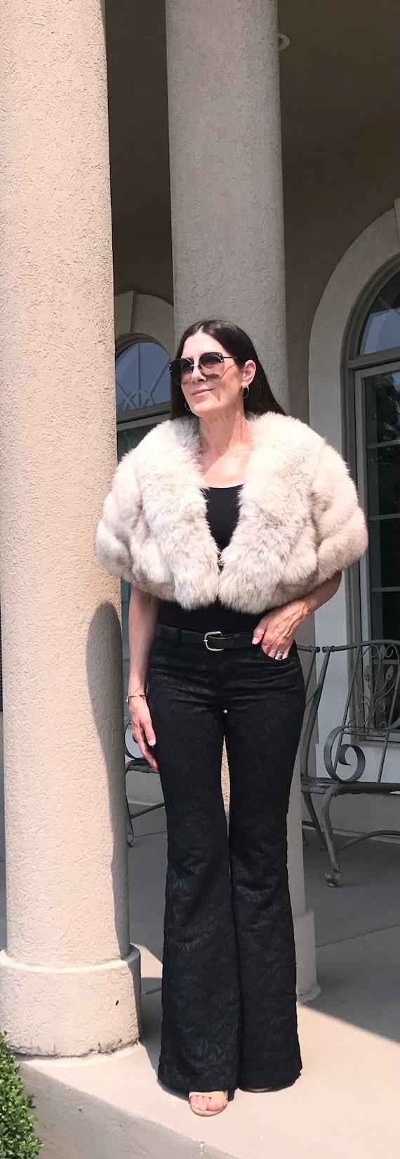 Vintage White Silver Fox Fur Stole Cape Wrap