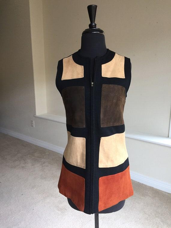 Geometric Pattern Suede Knit Wool Vest 1970