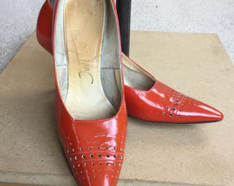 Red Patent Leather Pumps Heels Shoes 1950 1960