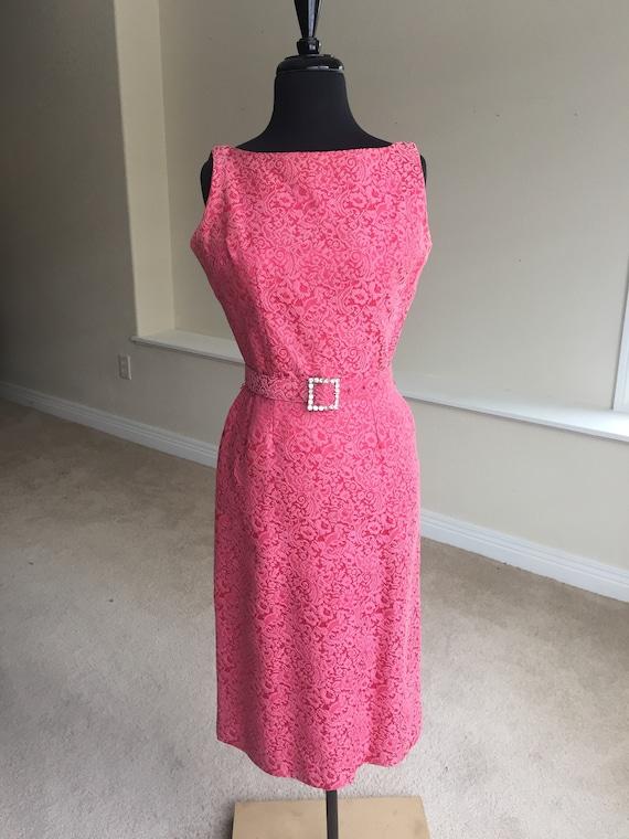 Vintage Modern Pink Fuchsia Pink Brocade Wiggle Pe
