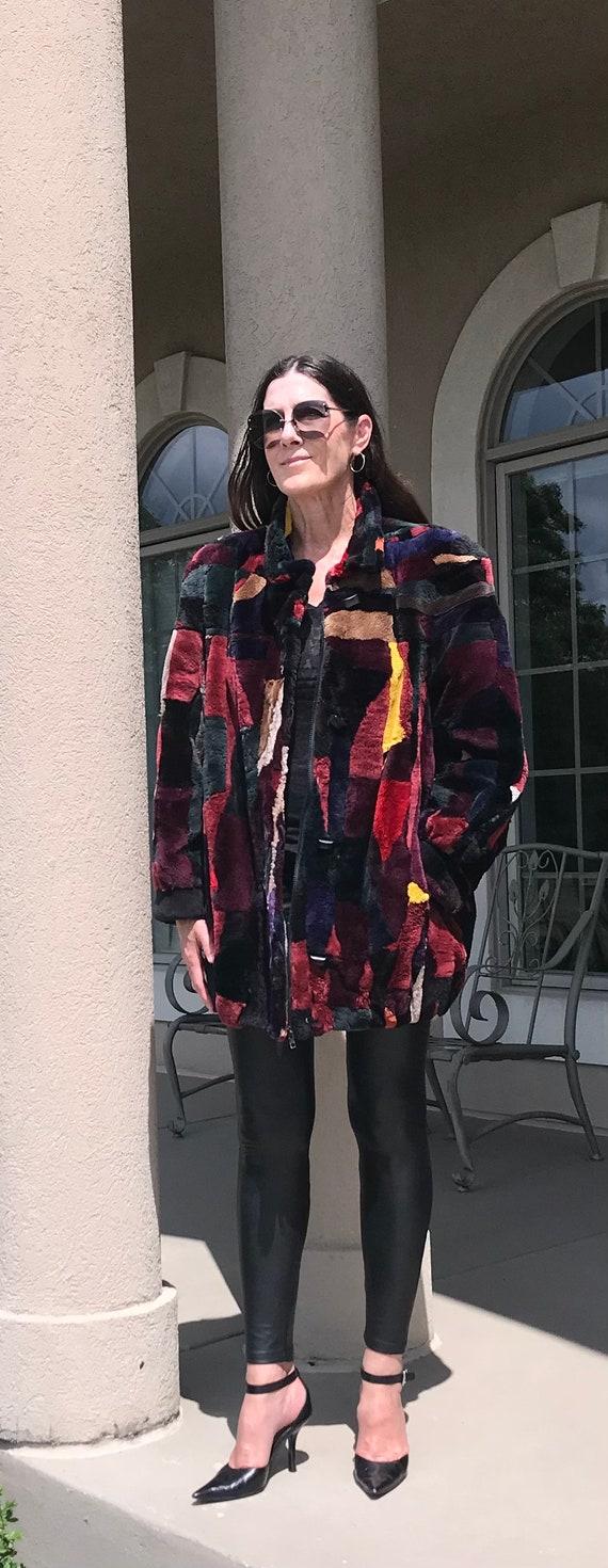 Vintage Multi Color Patchwork Sheared Beaver Fur … - image 2