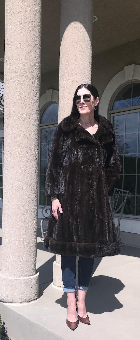 Vintage Modern Dark Brown Mink Fur Coat Princess C