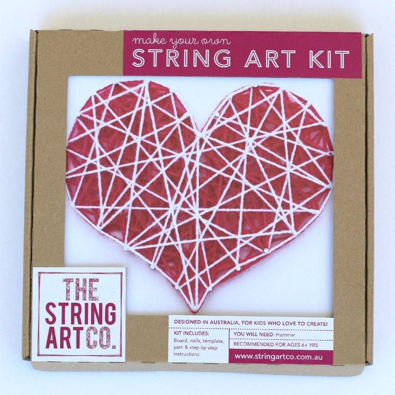 String Art Kit Love Heart Pink White Craft Kit Craft Etsy