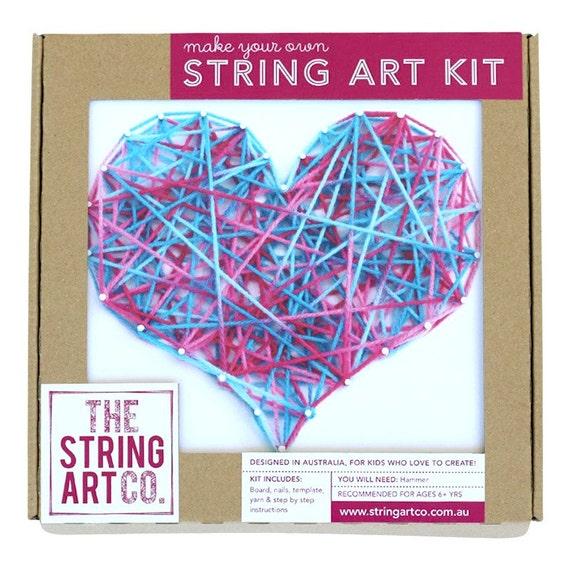 String Art Kit Love Heart Beginner Blue Pink Etsy