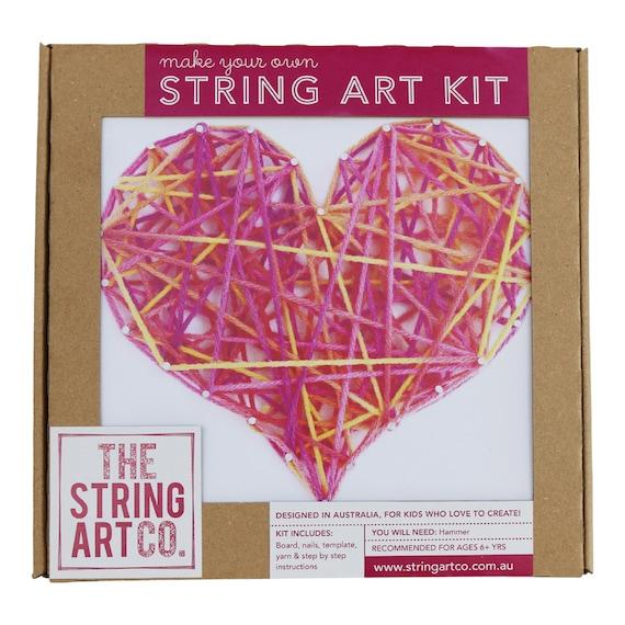 String Art Kit Love Heart Beginner Pink Multi Coloured Etsy