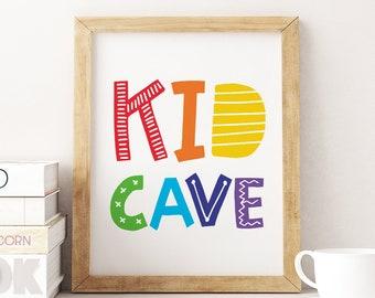 Nursery Decor Kids Wall Art Prints Kid Cave Sign *Instant Download* Kid Cave Printable Art Colourful Playroom Decor Kids Room Decor