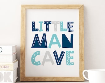 Boys Rule Little Man Cave Mountains Kids Room Wall Art Poster Picture Prints