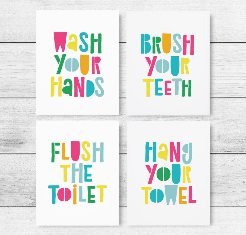 graphic regarding Printable Bathroom Rules named Little ones Rest room Printable Artwork, Preset of 4, Young children Rest room Pointers, Little ones Lavatory Indications, Young children Lavatory Print, Wall Artwork Poster *Immediate Obtain*