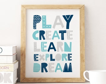 Kids Playroom Printable Art, Play Create Learn Explore, Children Wall Art, Kids Print, Playroom Decor, Toy Room Play Sign *Instant Download*