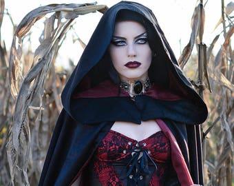Black Cape, Gothic Cape, Black Coat, Hooded Coat, Black Cloak, Red Lining Coat, Red Lining Cape, Red Cape, Gothic Coat, Big Hood, Long Cape