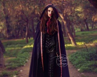 Long Black Coat, Gothic Cape, Black Coat, Black Cape, Black and Red Coat, Long Coat, Long Cape, Hooded Coat, Medieval Cape, Big Hood