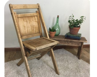 Vintage Wooden Folding Chair | Antique Wood Chair | Farmhouse Decor  Farmhouse Furniture | Entryway Decor | Rustic Home Decor