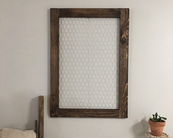 Boho farmhouse living room decor large frame with chicken wire | Nursery decor wall art | Wooden organizer memo board | Photo display