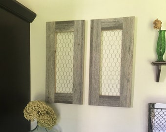 Set Of Decorative Chicken Wire Shutters | Reclaimed Grey White Barn Wood  Decor | Rustic Distressed Wood Farmhouse Wall Decor